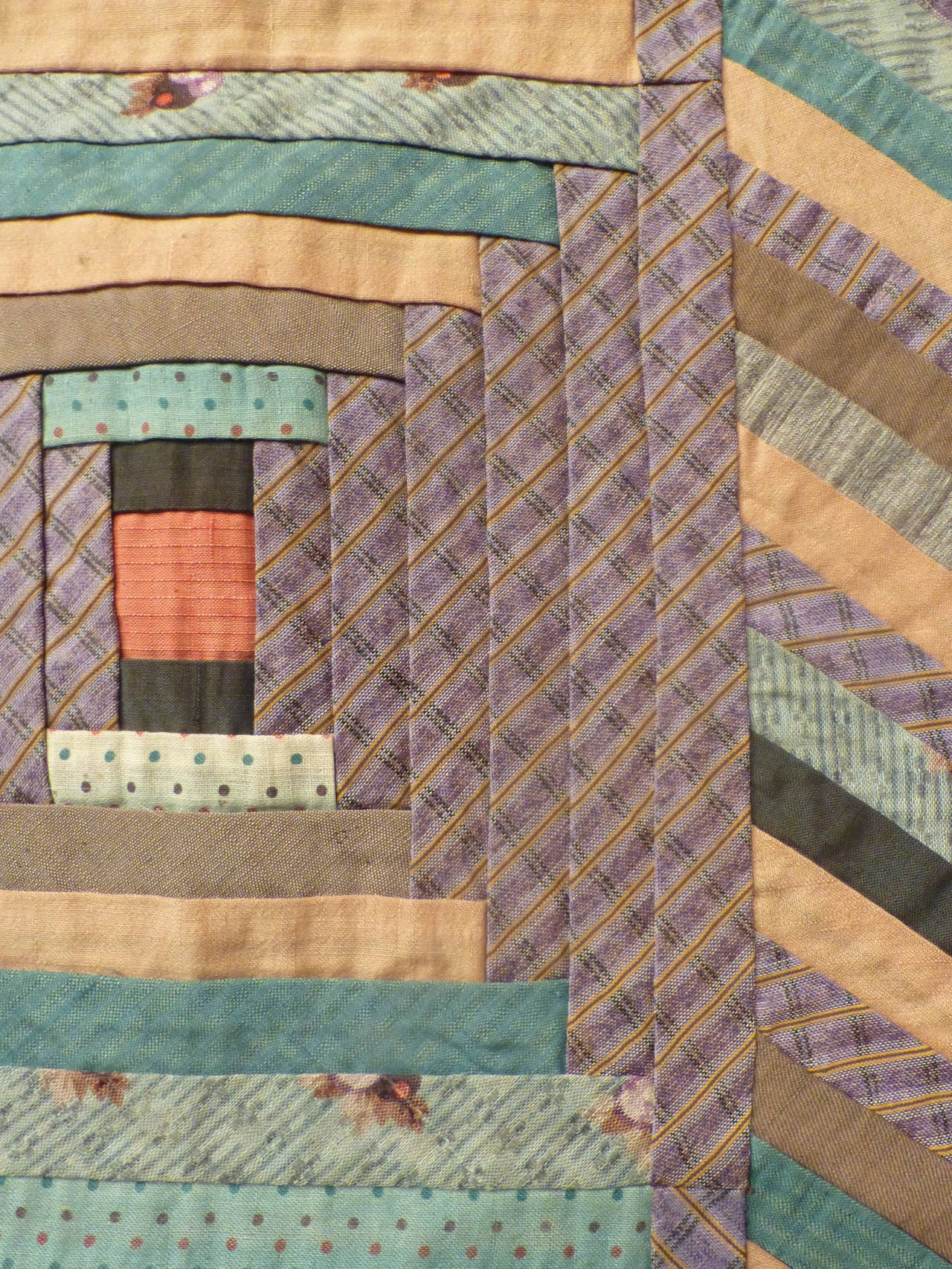 """Log Cabin-Courthouse Steps"" Antique Quilt 8"