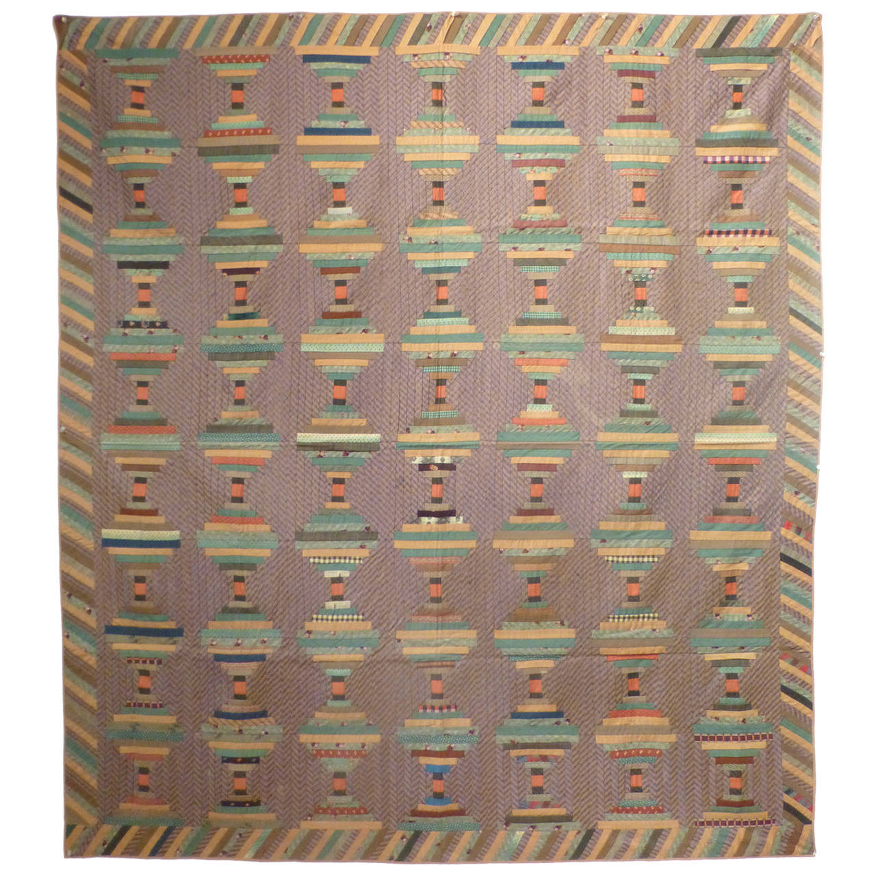 """Log Cabin-Courthouse Steps"" Antique Quilt 1"