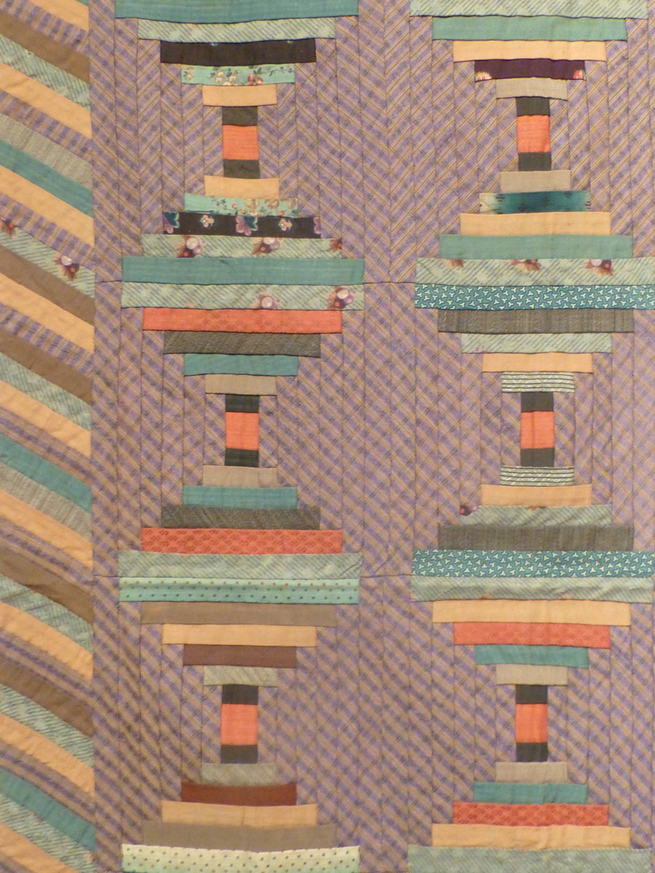 """Log Cabin-Courthouse Steps"" Antique Quilt 6"