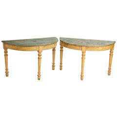 Pair of Painted Italian Demilune with Green Faux Marble Tops, circa 1800