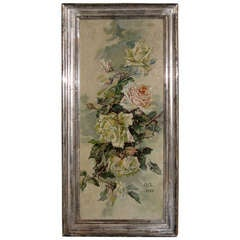 French Oil on Canvas Painting of Roses, Signed and Dated 1906