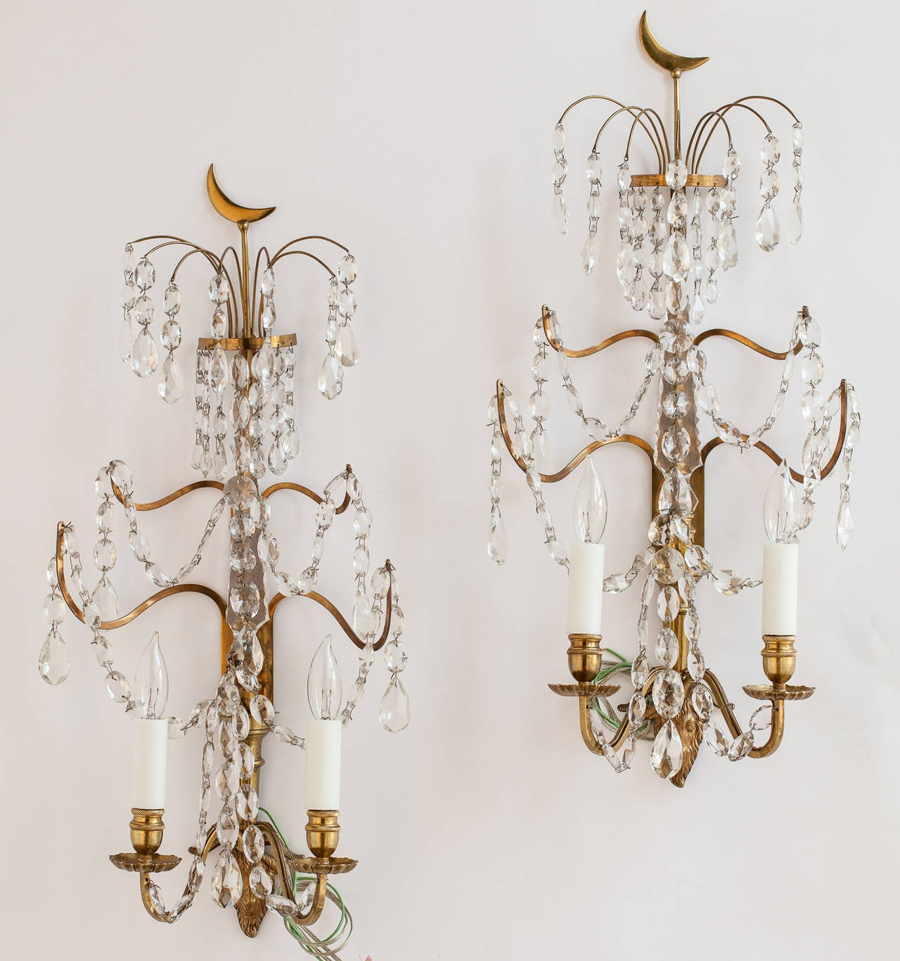 Pair of Swedish Crystal and Brass Sconces, circa 1880 at 1stdibs