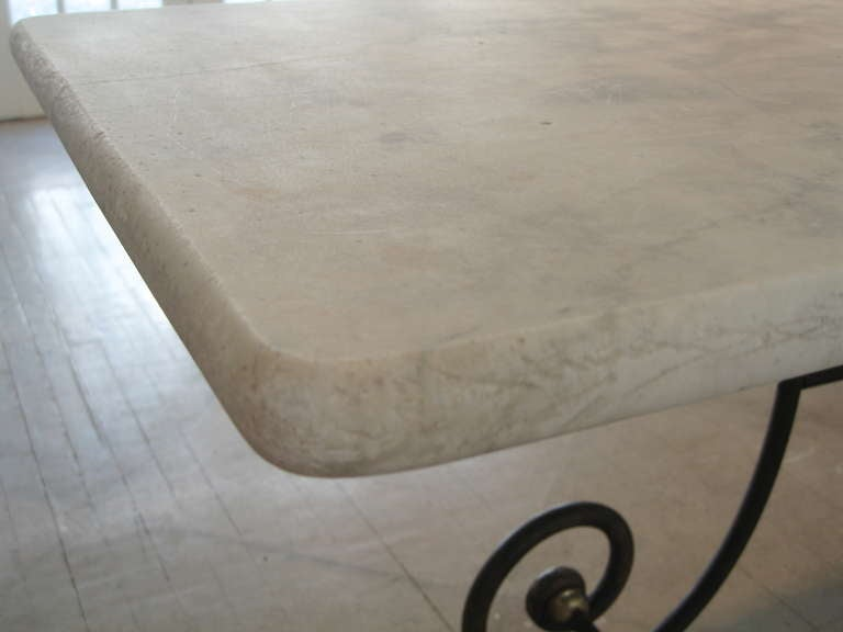 A French Bakers Table With White Marble Top And Cast Iron
