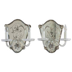 Pair of French, Baccarat, Late 19th Century Etched and Mirrored Sconces