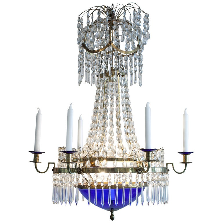 Swedish Gustavian-Style Chandelier, Late 19th Century For Sale