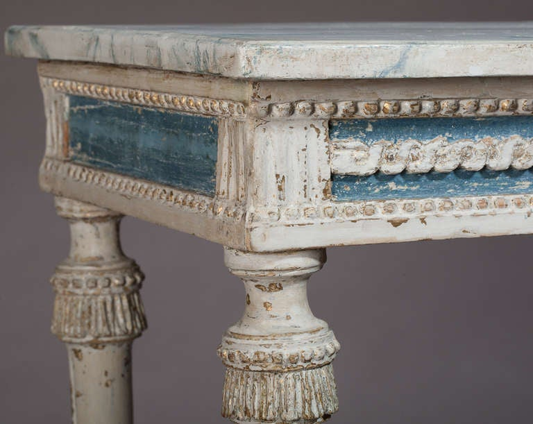 Swedish, Gustavian Period Console Table, in Wonderful Original Paint In Excellent Condition For Sale In New Preston, CT