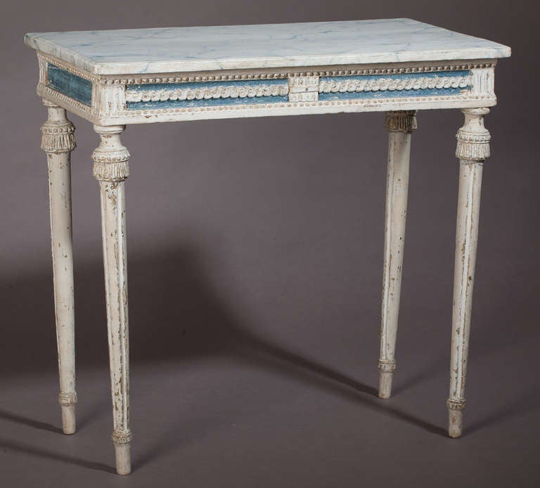 A Swedish Gustavian Period Console Table In Original Blue And White Paint With