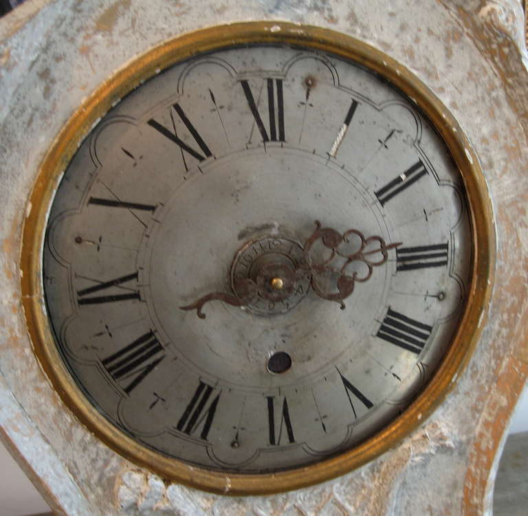 Swedish Rococo Period Standing or Wall Clock, circa 1760 In Excellent Condition For Sale In New Preston, CT