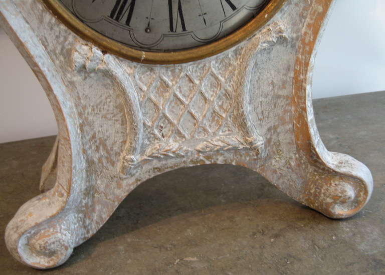 18th Century Swedish Rococo Period Standing or Wall Clock, circa 1760 For Sale
