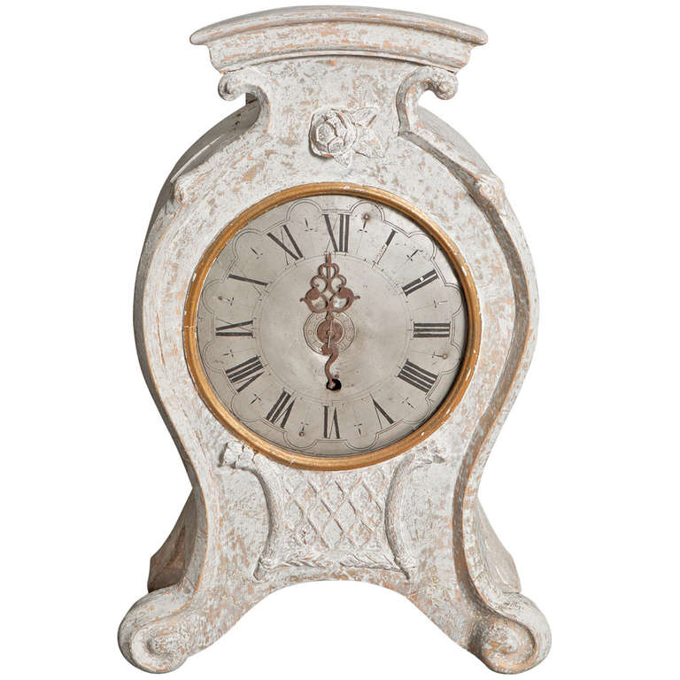 Swedish Rococo Period Standing or Wall Clock, circa 1760 For Sale