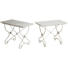 Assembled Pair of French Marble-Top Tables, circa 1900