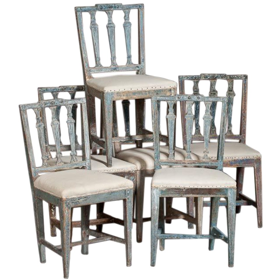 A Set Of Six Swedish Dining Room Chairs At 1stdibs