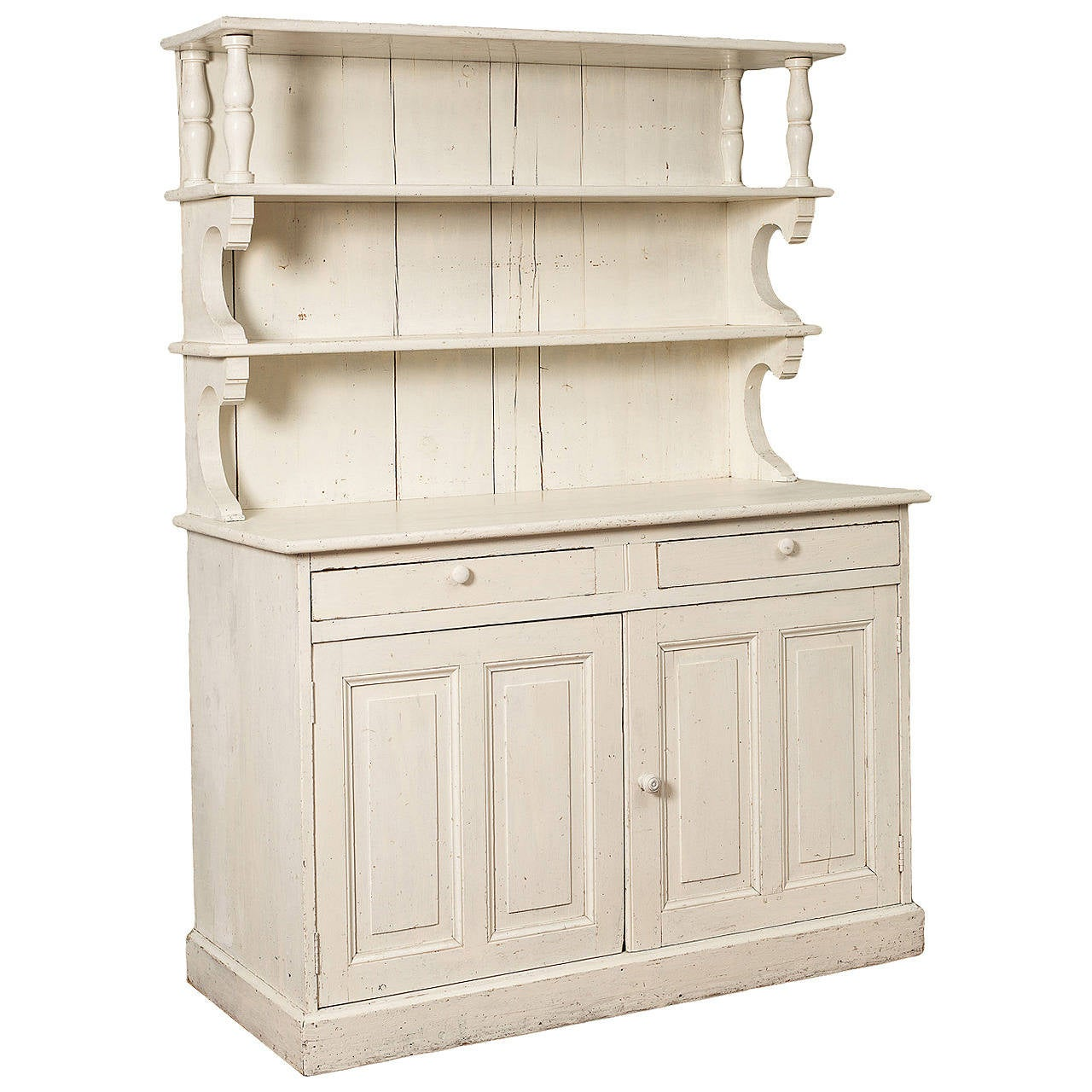 French Cupboard In Old White Paint, Circa 1900 For Sale