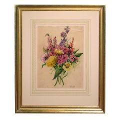 Watercolor Floral Study by Charles Etienne Corpet