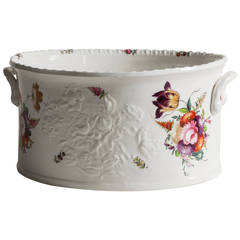 English Flower Painted Footub, Possibly Coalport, circa 1850