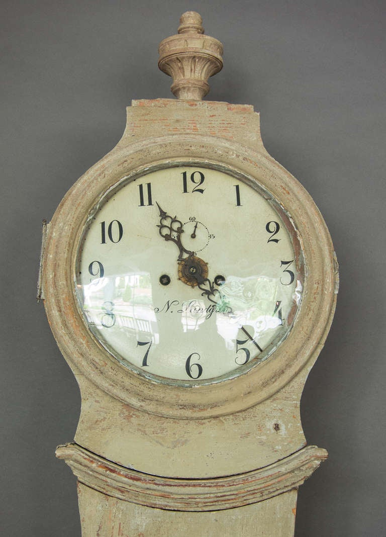 Gustavian Swedish Tall Case Mora Clock, circa 1800