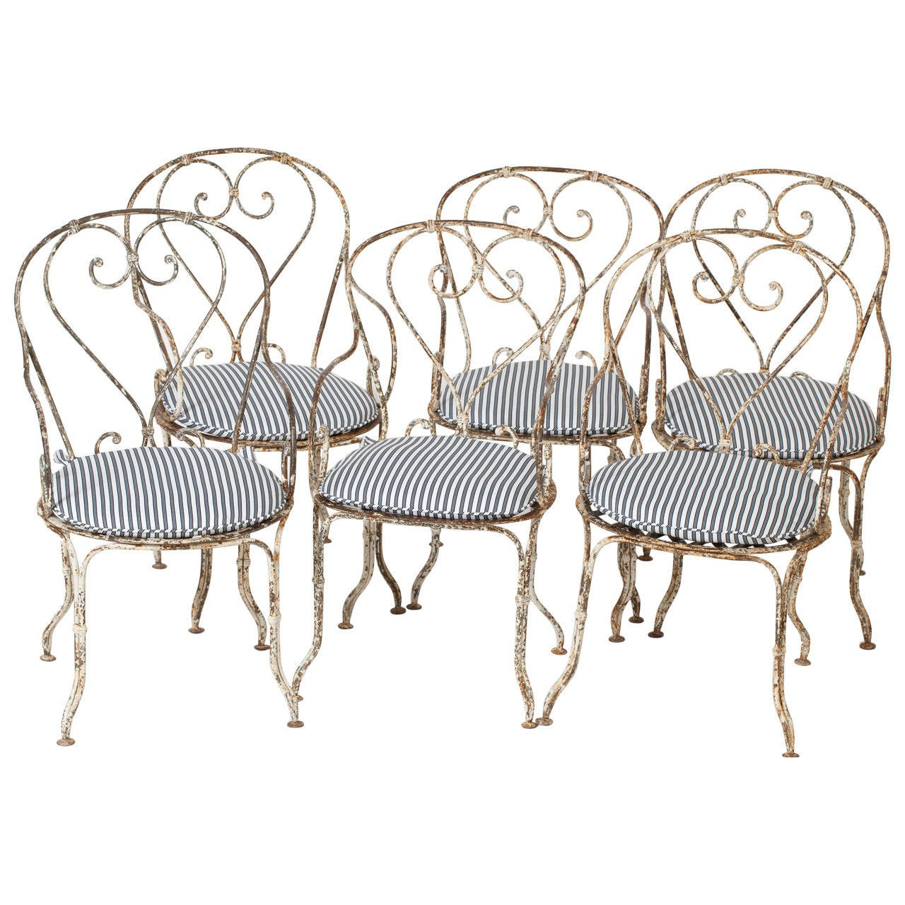 A Set Of Six French Antique Wrought Iron Garden Chairs