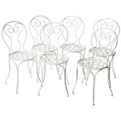 Set of Six Antique French Wrought Iron Garden Chairs, circa 1900-1920