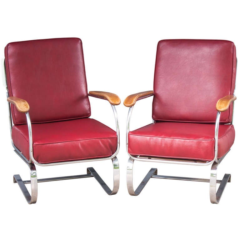 A Pair Of Kem Weber Springer Chairs At 1stdibs