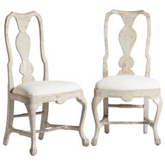 Pair of Antique Swedish, Rococo Side Chairs with Carved Ball and Claw Feet