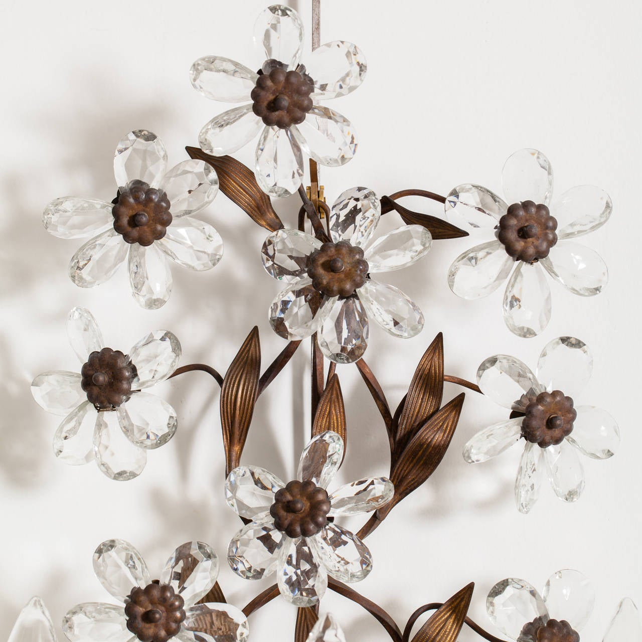 Antique Pair of French Crystal Flower Sconces, circa 1900 2