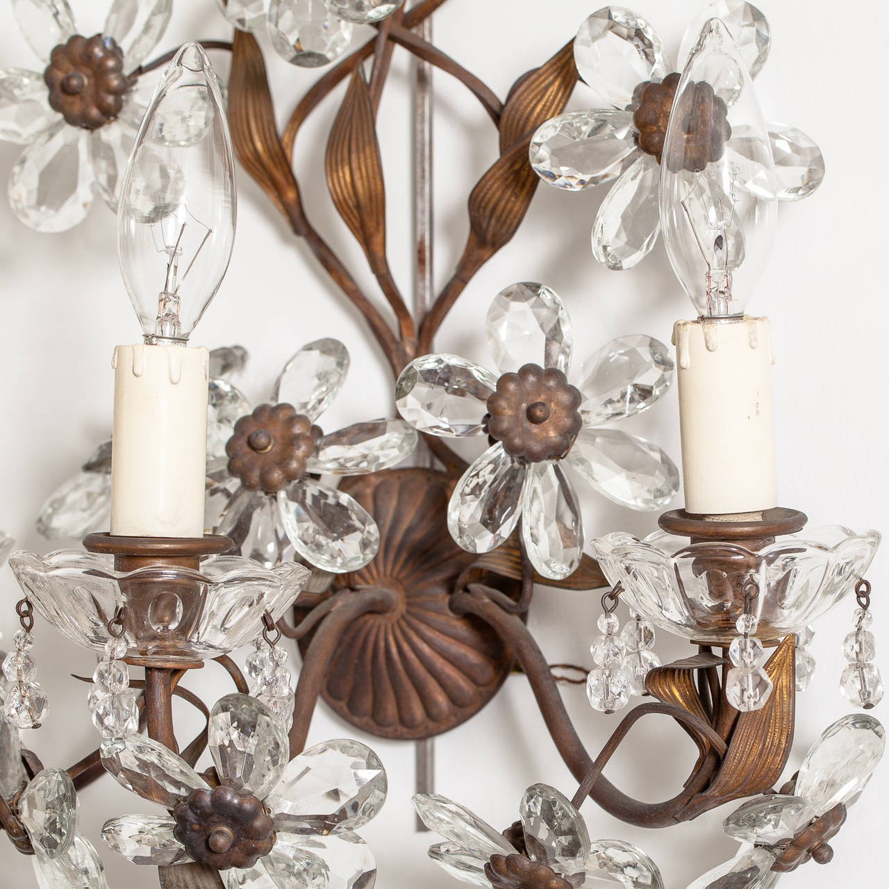 Antique Pair of French Crystal Flower Sconces, circa 1900 4