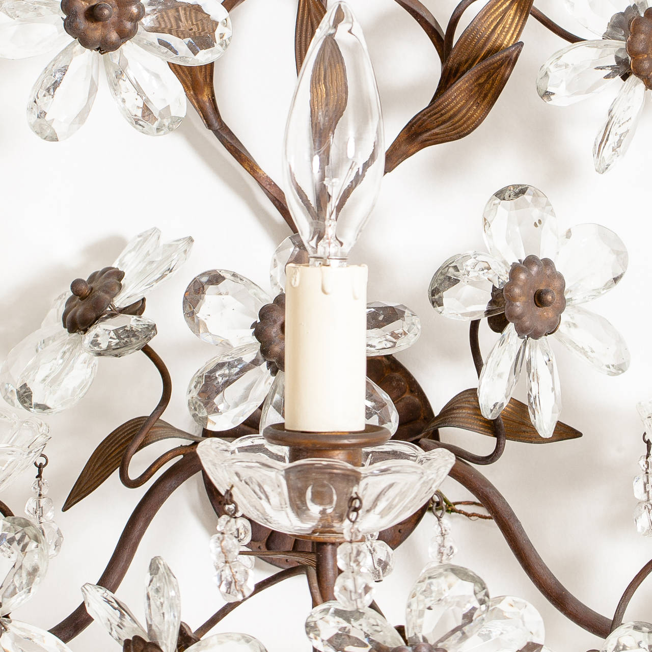 Antique Pair of French Crystal Flower Sconces, circa 1900 6