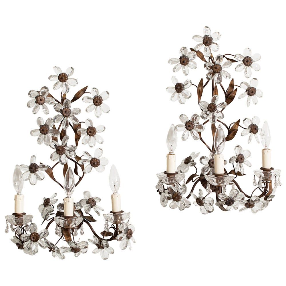 Antique Pair of French Crystal Flower Sconces, circa 1900 1