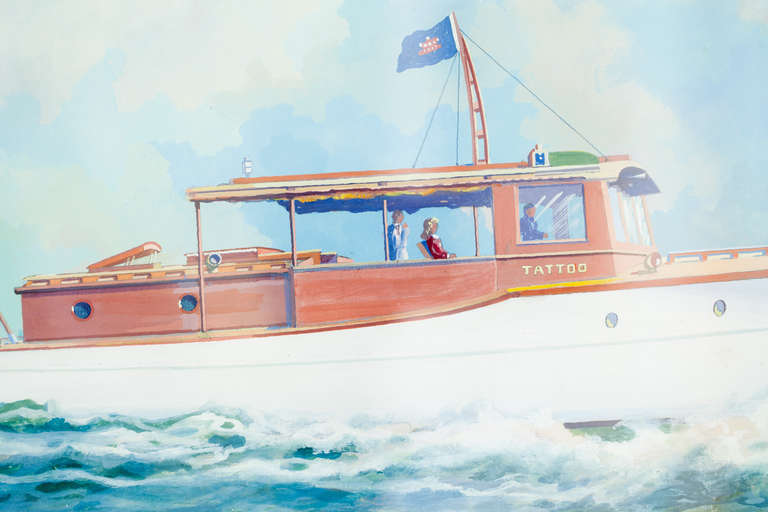 A beautifully executed watercolor portrait of Tatto, an Elco cruiser by Wallace Randall. Randall was known for his portraits of steamships and vanity portraits of private boats. The Elco cruiser depicted is bearing the flag of the Eastern Yacht