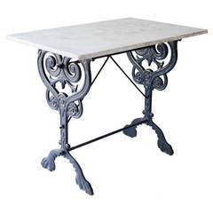 French Console Table with Marble Top and Elaborate Base