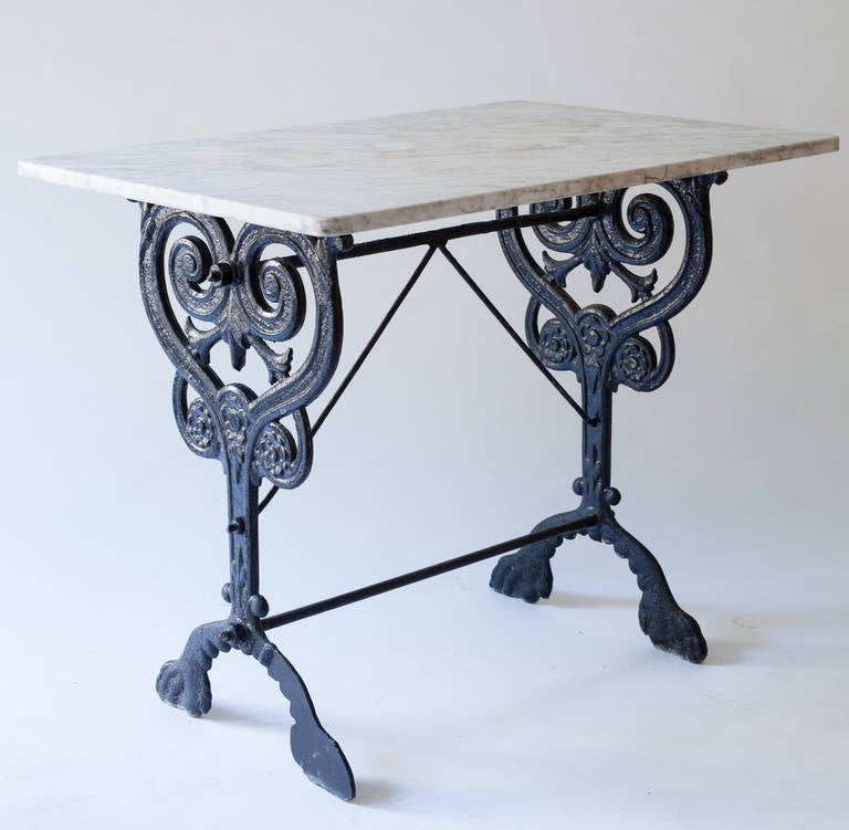 French Console Table french console table with marble top and elaborate base for sale