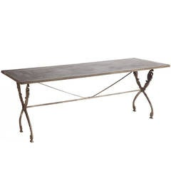 French Antique Bistro Table with Zinc Top, circa 1900
