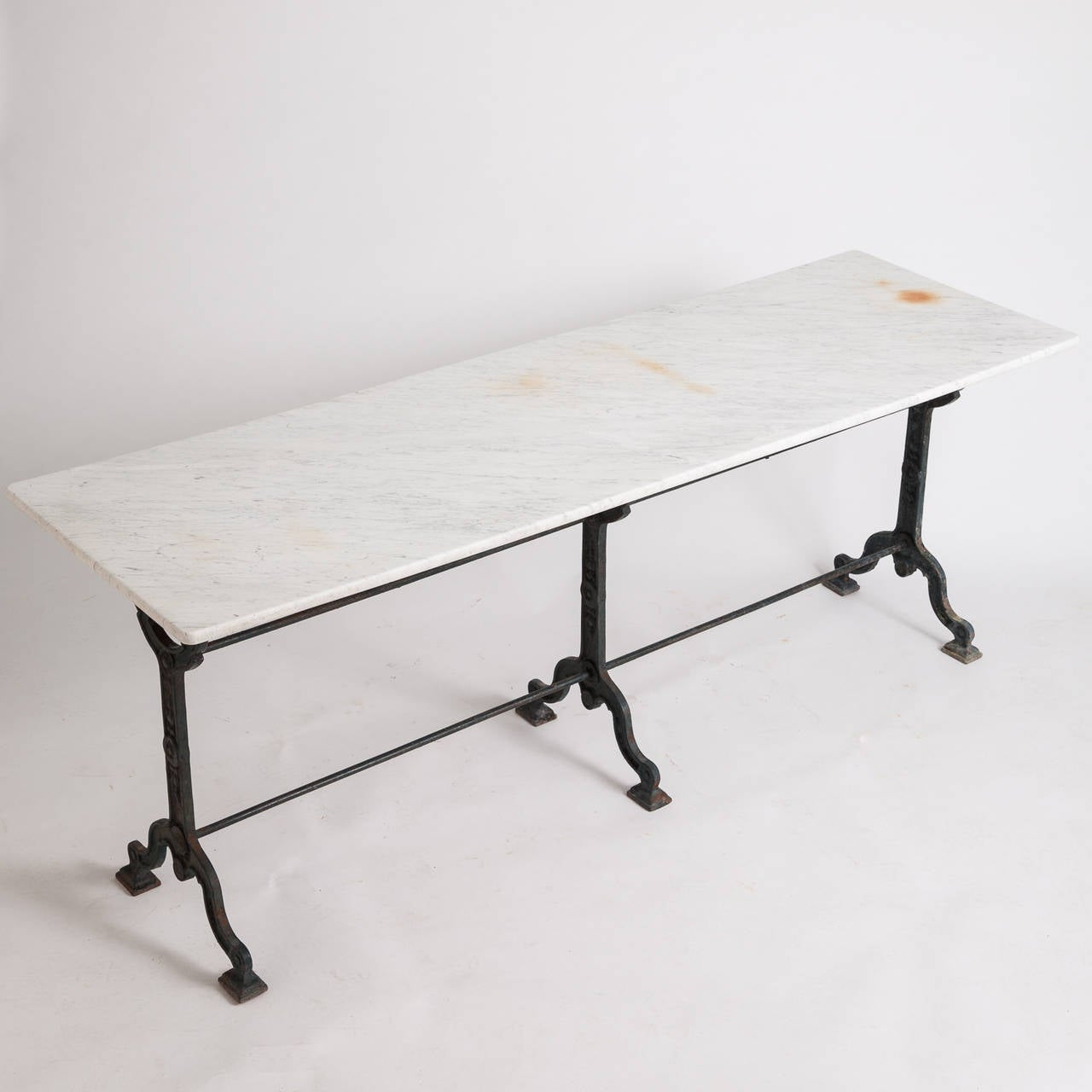 French Antique Bistro Table With Marble Top, Circa 1900 2