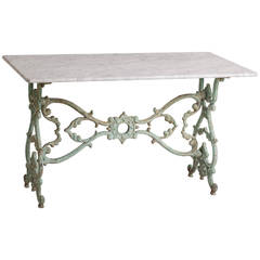 French Cast Iron Marble-Topped Table, circa 1890