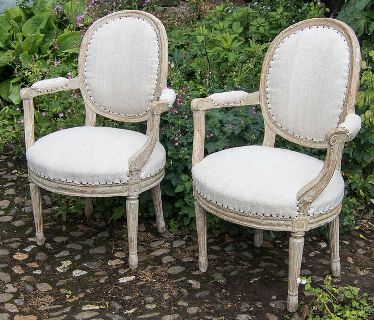 A pair of Swedish Gustavian period armchairs circa 1800. 2