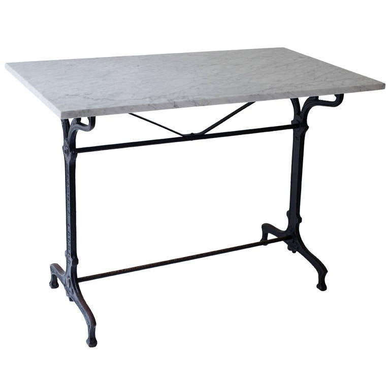 French Art Nouveau Bistro Table Of Black Painted Iron With Marble Top For  Sale