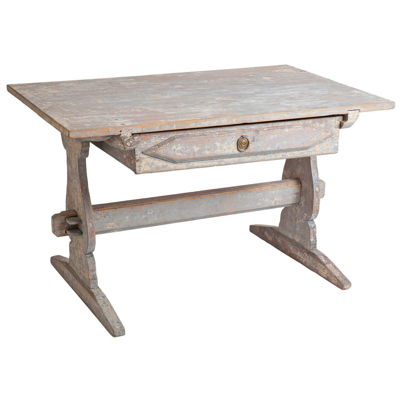 Swedish Antique Blue Painted Trestle Table, Circa 1880 1