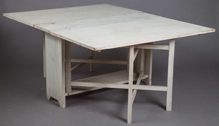 A Swedish drop leaf dining table circa 1840. image 2