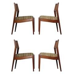 Set of Four Walnut Chairs by Jens Risom