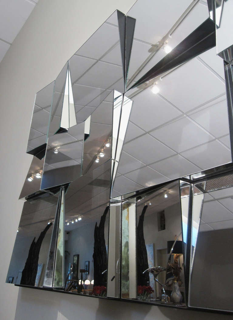 A Large Quot Slopes Quot Faceted Mirror By Neal Small At 1stdibs