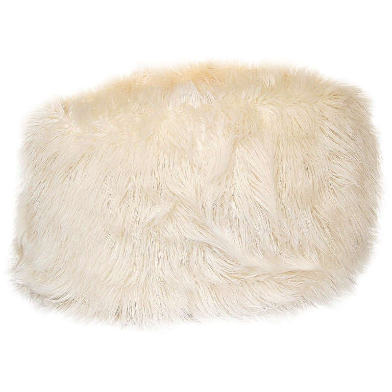 A Faux Flokati Pouf At 1stdibs