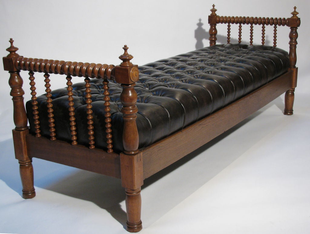 A french tufted leather and walnut daybed bench at 1stdibs Daybed bench