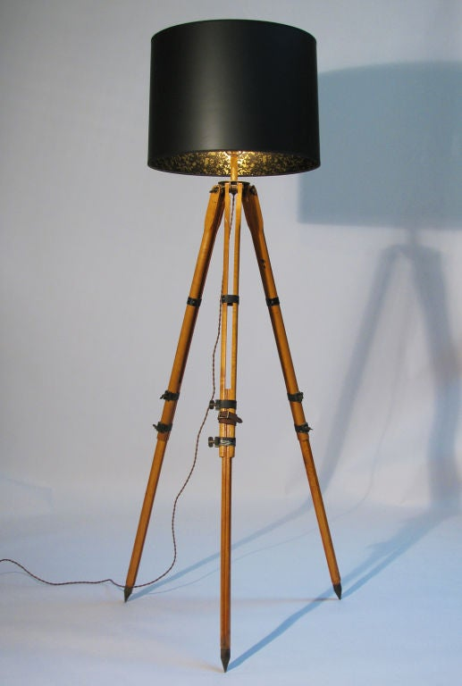 Antique surveyor tripod floor lamp at 1stdibs for Surveyors floor lamp wood