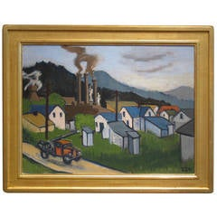 Framed Ashcan School Oil on Canvas Painting