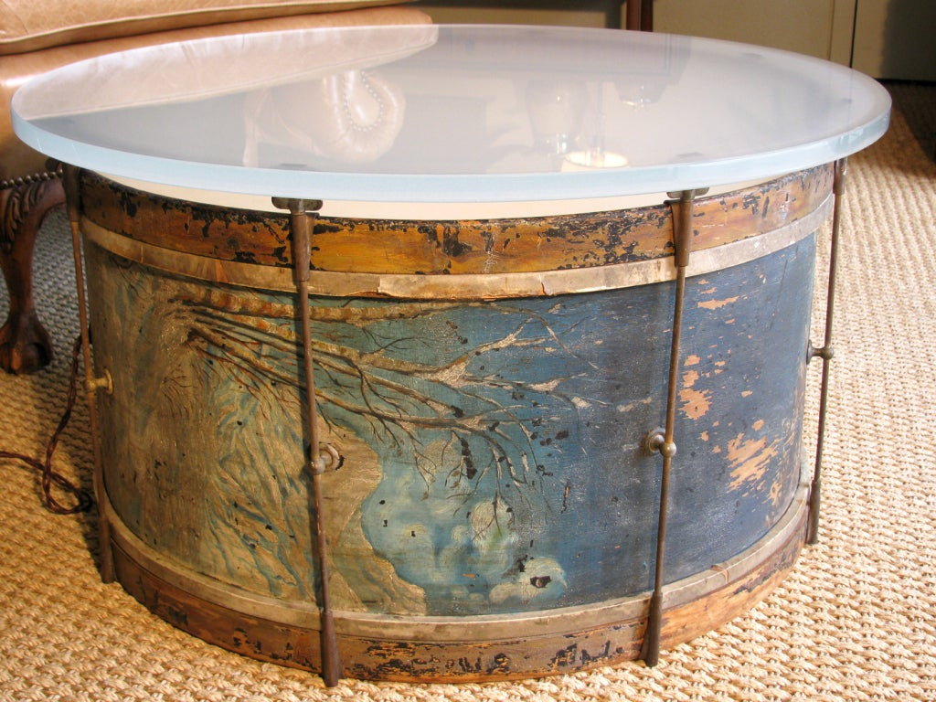 Drum Coffee Table Distressed Drum Coffee Table At 1stdibs Solid Brass Drum Cocktail Coffee