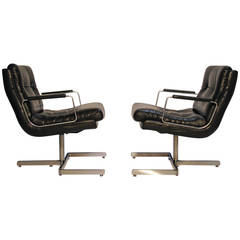 Pair of Leather Lounge Chairs by Raphael
