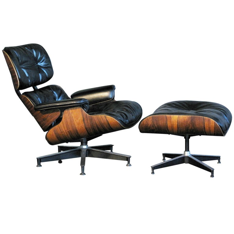 eames rosewood lounge chair and ottoman at 1stdibs