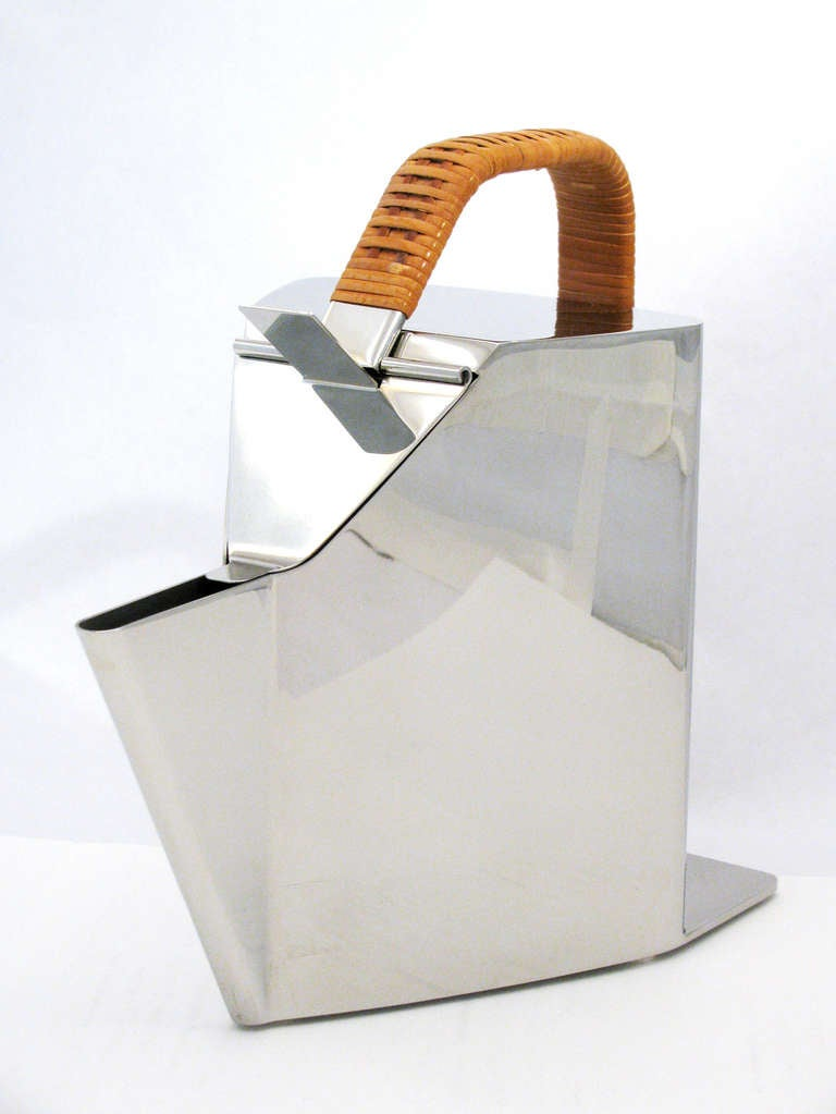 Modern Richard Sapper for Alessi Polished Steel and Cane Kettle