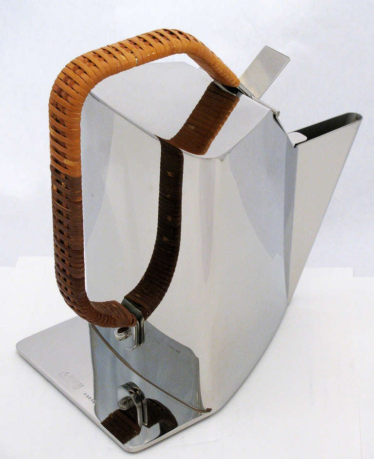Italian Richard Sapper for Alessi Polished Steel and Cane Kettle
