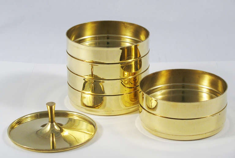 Tommi Parzinger Brass Stacking Coaster Set At 1stdibs